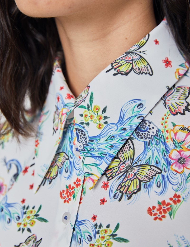 Women's White and Blue Matt Satin Peacock Print Vintage Collar Semi Fitted Blouse