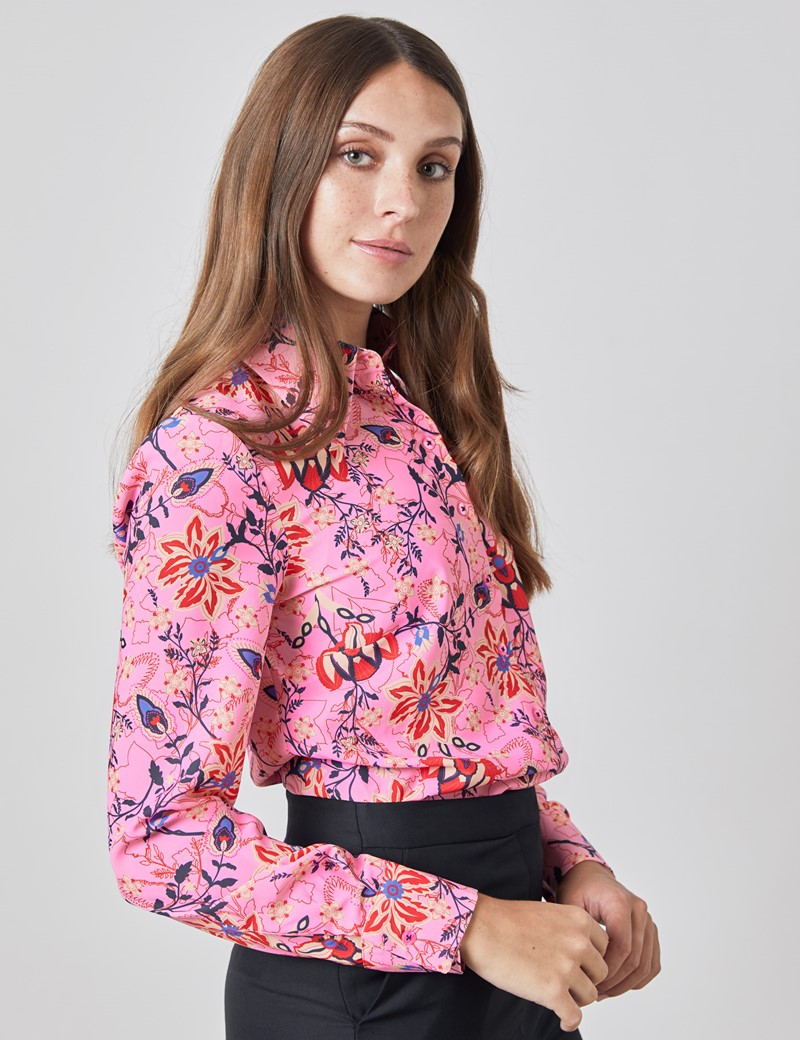Women's Pink and Peach Matt Satin Floral Print Vintage Collar Semi Fitted Blouse
