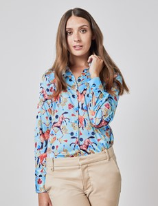 Women's Light Blue and Yellow Horse Jewels Print Vintage Collar Semi Fitted Satin Blouse