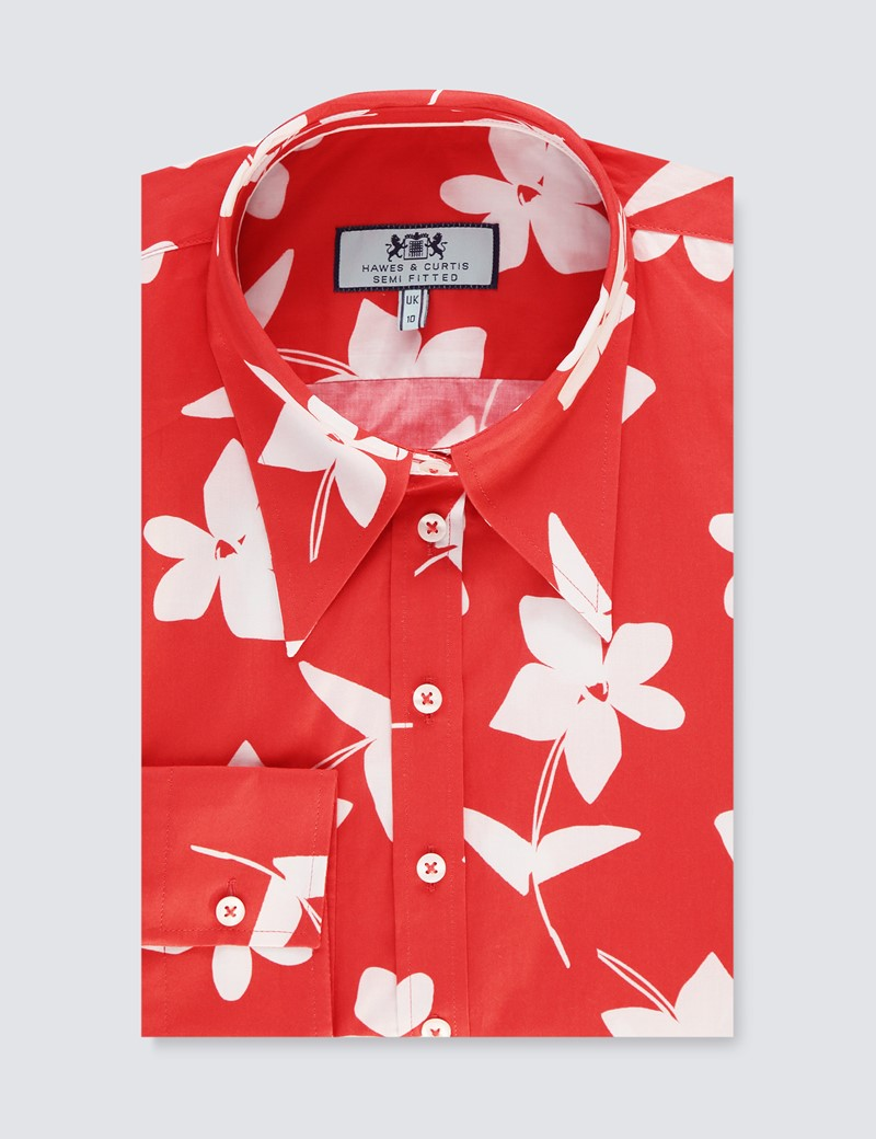 Women's Red & White Floral Vintage Collar Semi Fitted Blouse