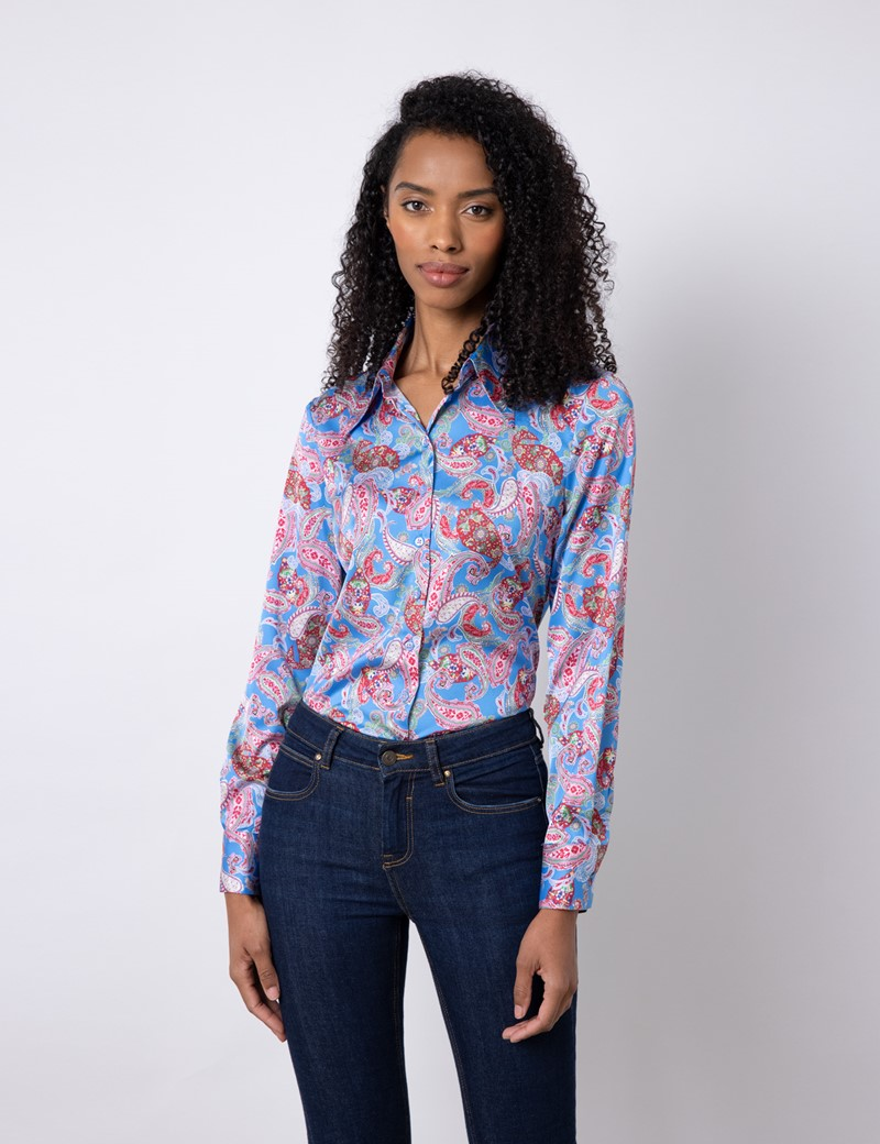 Women's Light Blue & Pink Paisley Satin Vintage Collar Semi Fitted Blouse