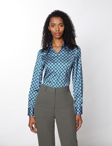 Women's Green & Pink Geometric Print Vintage Collar Semi Fitted Blouse