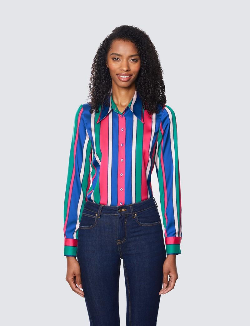 Women's Green & Blue Multi Colour Stripe Vintage Collar Semi Fitted Blouse