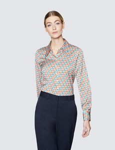 Women's Red & Blue Chain Print Satin Semi Fitted Blouse