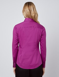 Women's Fuchsia Semi Fitted Shirt - Single Cuff