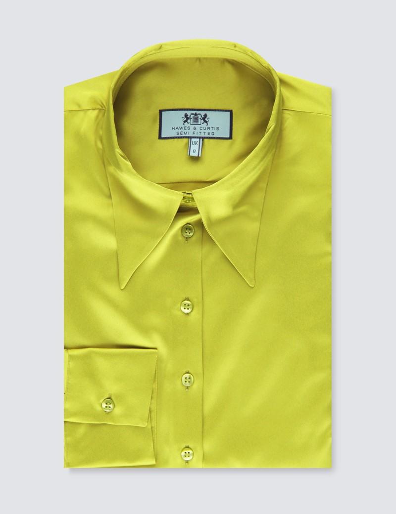Satinbluse – Regular Fit – Manschetten – gelbgrün