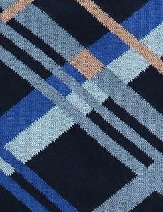 Men's Navy & Blue Contrast Check Cotton Rich Socks