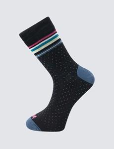 Men's Black and Green Dandy Cotton Rich Socks