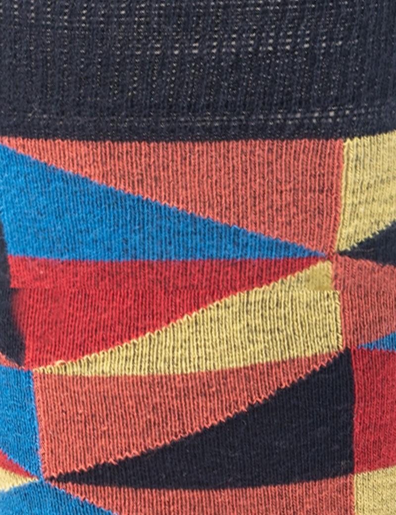 Men's Blue & Yellow Multi Triangles Cotton Rich Socks