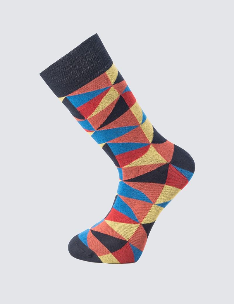 Herren Strümpfe – Dreiecksmuster blau & gelb