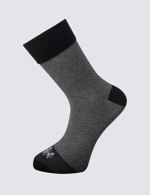 Men's Black and Grey Herringbone Cotton Rich Socks