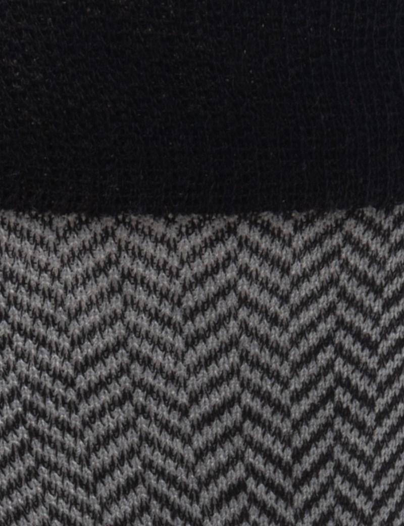 Men's Black and Grey Herringbone Cotton Rich Socks