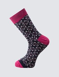 Men's Navy & Pink Triangles Cotton Rich Socks