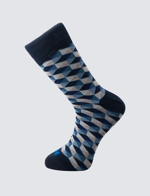 Men's Navy & Blue Geometric Cotton Rich Socks