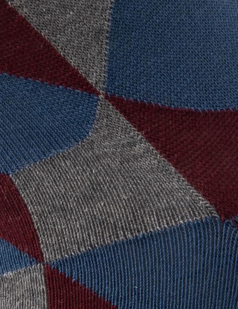 Men's Blue & Grey Geometric Cubes Cotton Rich Socks
