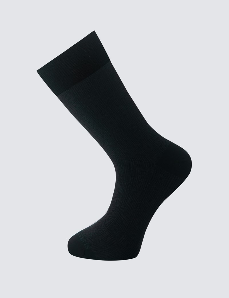 Men's Charcoal Geometric Square Cotton Rich Socks