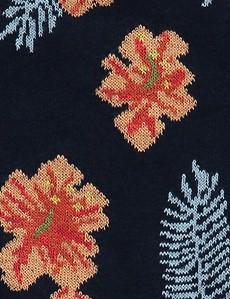 Men's Navy & Orange Tropical Cotton Rich Socks