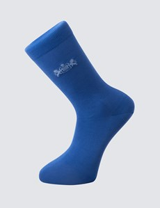 Men's H&C Plain Royal Blue Cotton Rich Socks