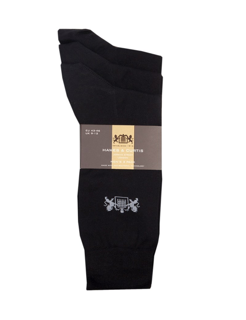 Men's Black Cotton Rich Socks -  3 Pair Pack
