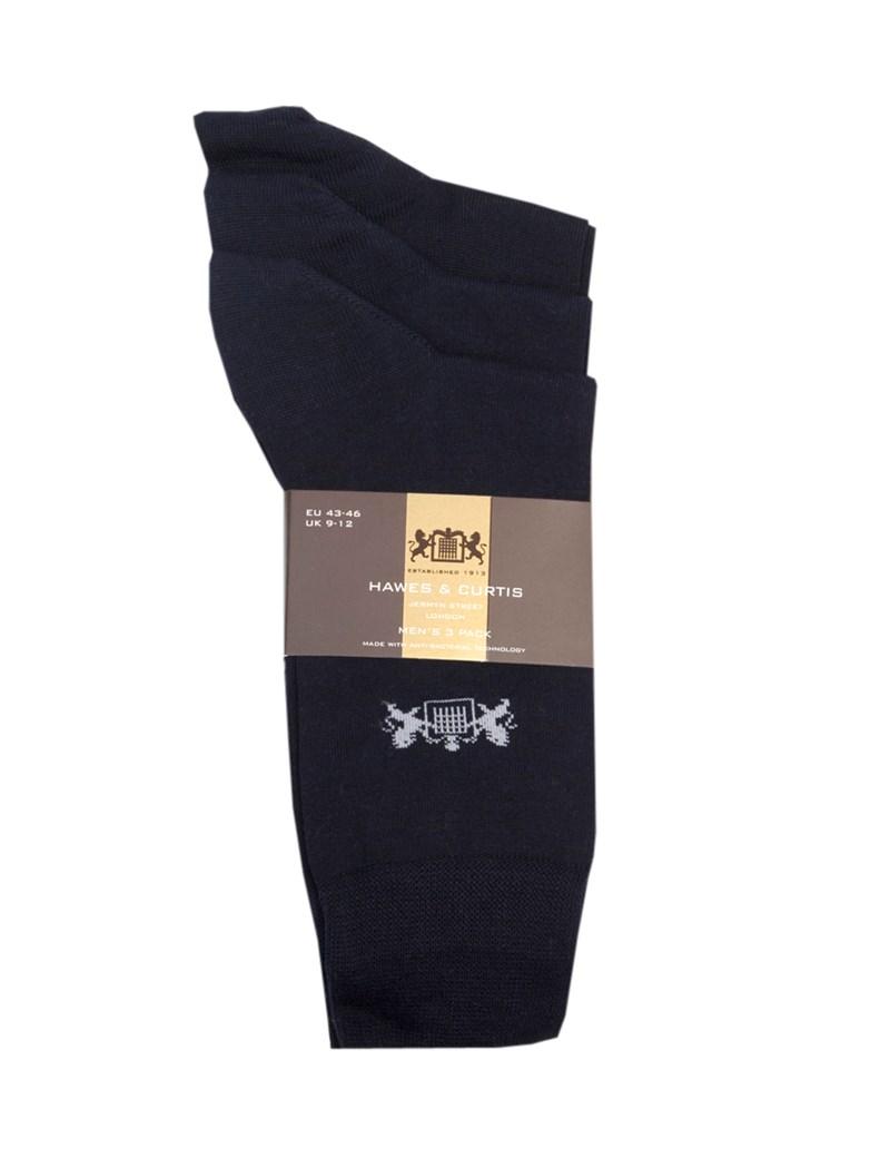 Men's H&C Navy Cotton Rich Socks -  3 Pair Pack