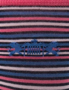 Men's Pink and Blue Fine Stripes Cotton Rich Socks