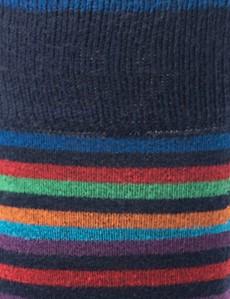 Herren Strümpfe – Kreismuster blau, rot & orange