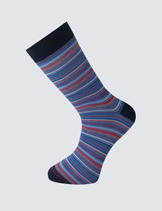 Men's Blue & Red Multi Stripe Cotton Rich Socks