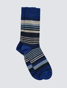 Men's Navy & Blue Stripe Cotton Rich Socks