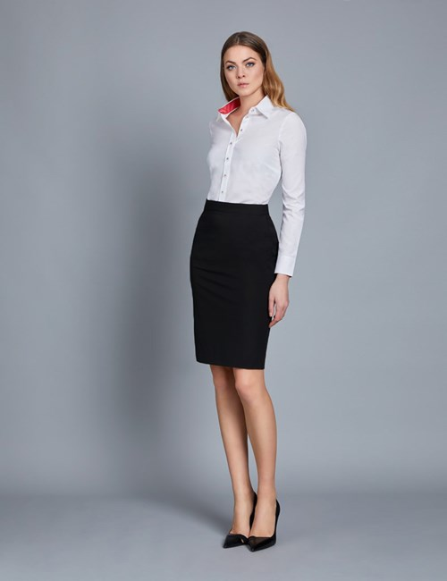 Black Stretch Twill Pencil Skirt