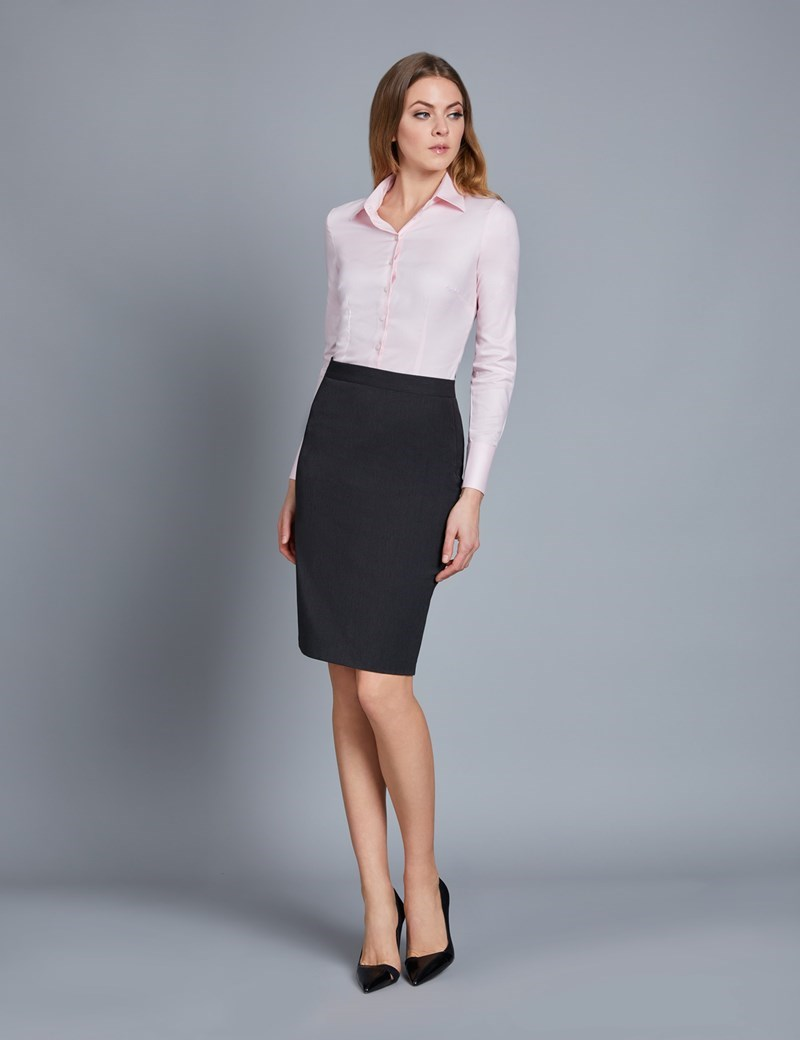 Charcoal Stretch Twill Pencil Skirt