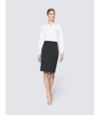 Charcoal Stretch Twill Pencil Skirt