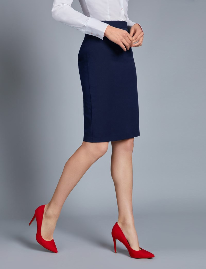 Navy Stretch Twill Pencil Skirt