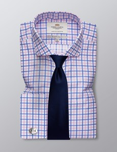 Men's Formal Blue & Pink Multi Check Slim Fit Shirt - Double Cuff -  Windsor Collar - Easy Iron