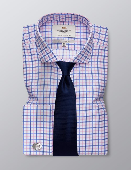 Men's Dress Blue & Pink Multi Plaid Slim Fit Shirt - French  Cuff -  Windsor Collar - Easy Iron