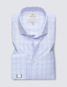 Men's Business Blue & Pink Checked Slim Fit Shirt - Windsor Collar - Double Cuff - Easy Iron