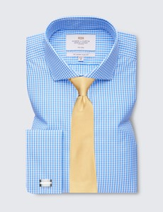 Men's Business Blue & White Gingham Check Slim Fit Shirt with Windsor Collar and Double Cuffs - Non Iron