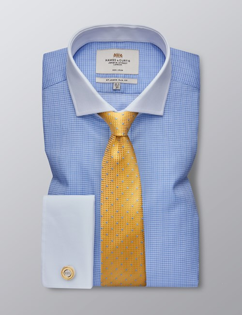 Men's Business Navy & Blue Grid Check Slim Fit Shirt - Double Cuff - Windsor Collar - Non Iron