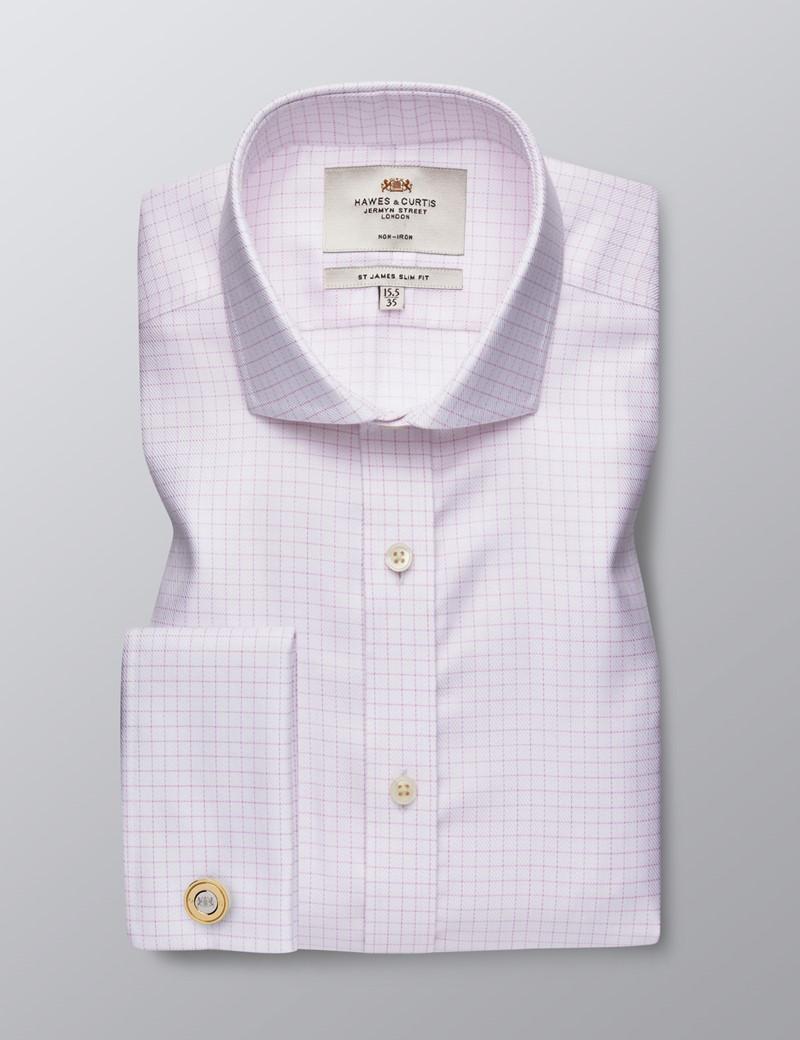 Bügelfreies Businesshemd - Slim Fit - Manschetten - Weiß mit rosa Gitter