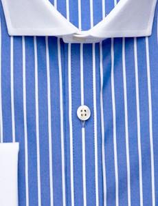 Men's Dress Royal Blue & White Tonal Stripe Slim Fit Shirt - French Cuff - Windsor Collar - Non Iron