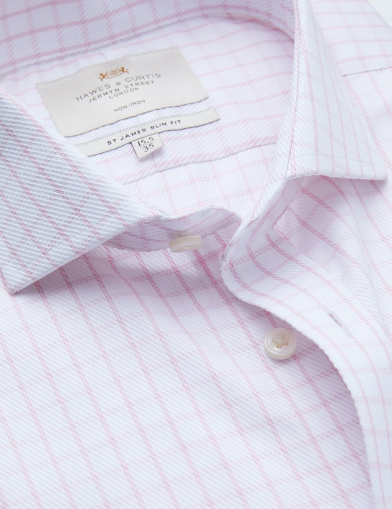 Non Iron Pink & White Textured Check Slim Fit Shirt with Windsor Collar - Double Cuff