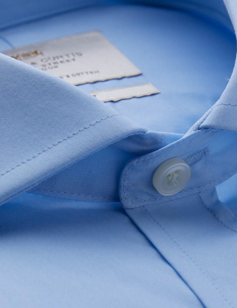 Men's Dress Blue Poplin Slim Fit Shirt - Windsor Collar - French Cuff - Easy Iron