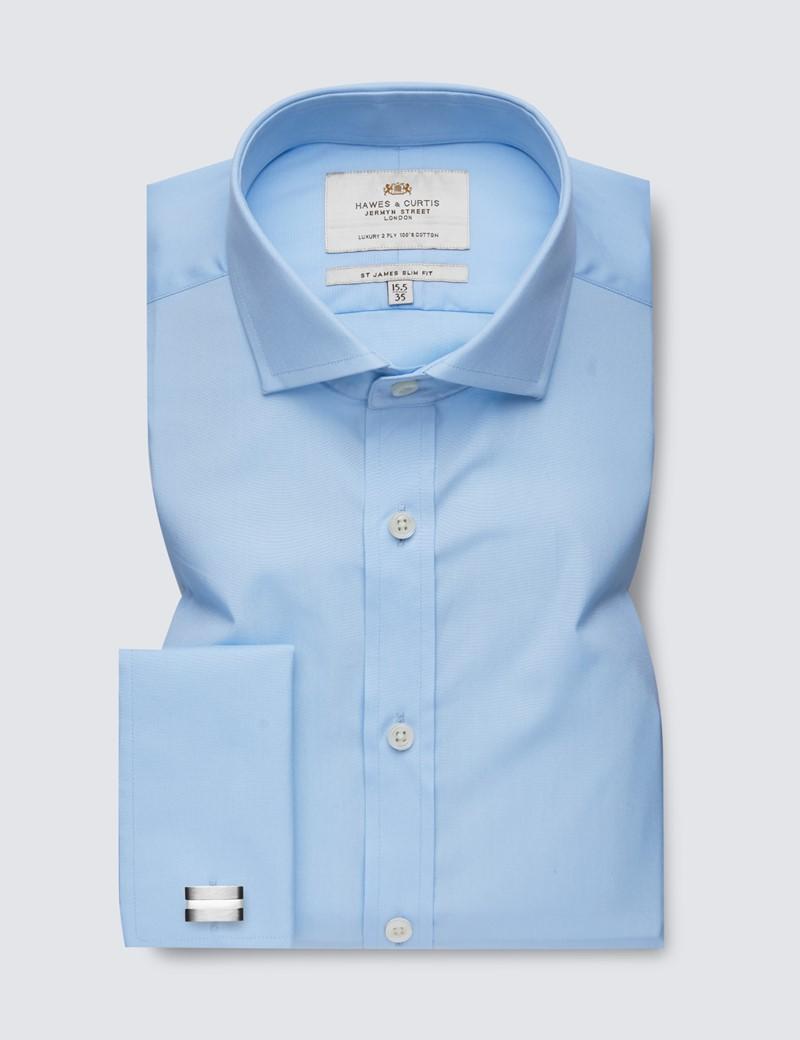 Men's Formal Blue Poplin Slim Fit Shirt - Windsor Collar - Double Cuff - Easy Iron