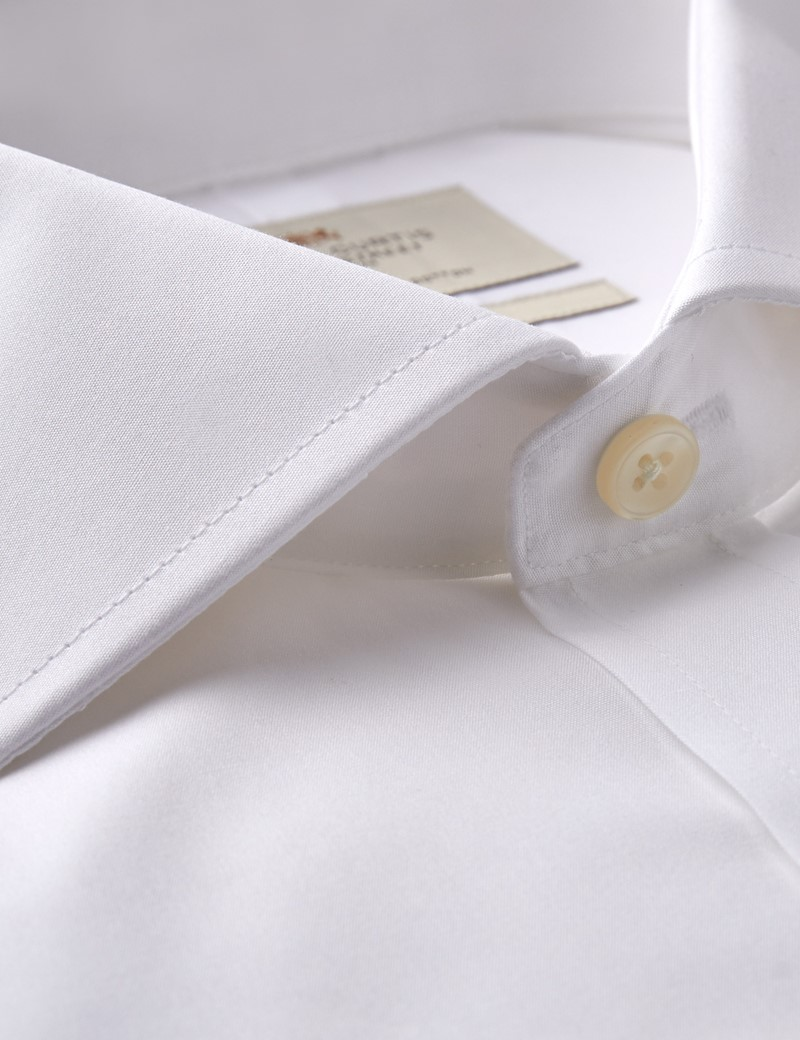 Men's White Poplin Slim Fit Dress Shirt - Windsor Collar - French Cuff - Easy Iron