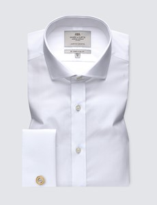 Men's Formal White Poplin Slim Fit Shirt - Windsor Collar - Double Cuff - Easy Iron
