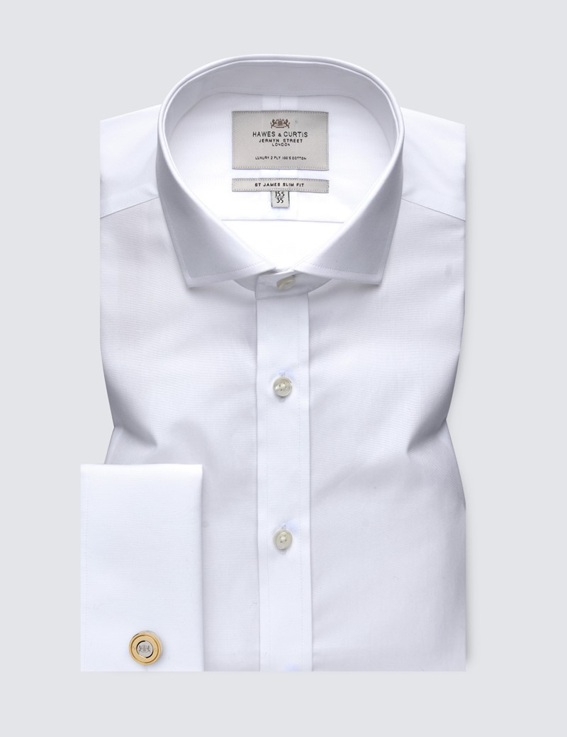 Men's  White Poplin Slim Fit Business Shirt - Windsor Collar - Double Cuff - Easy Iron
