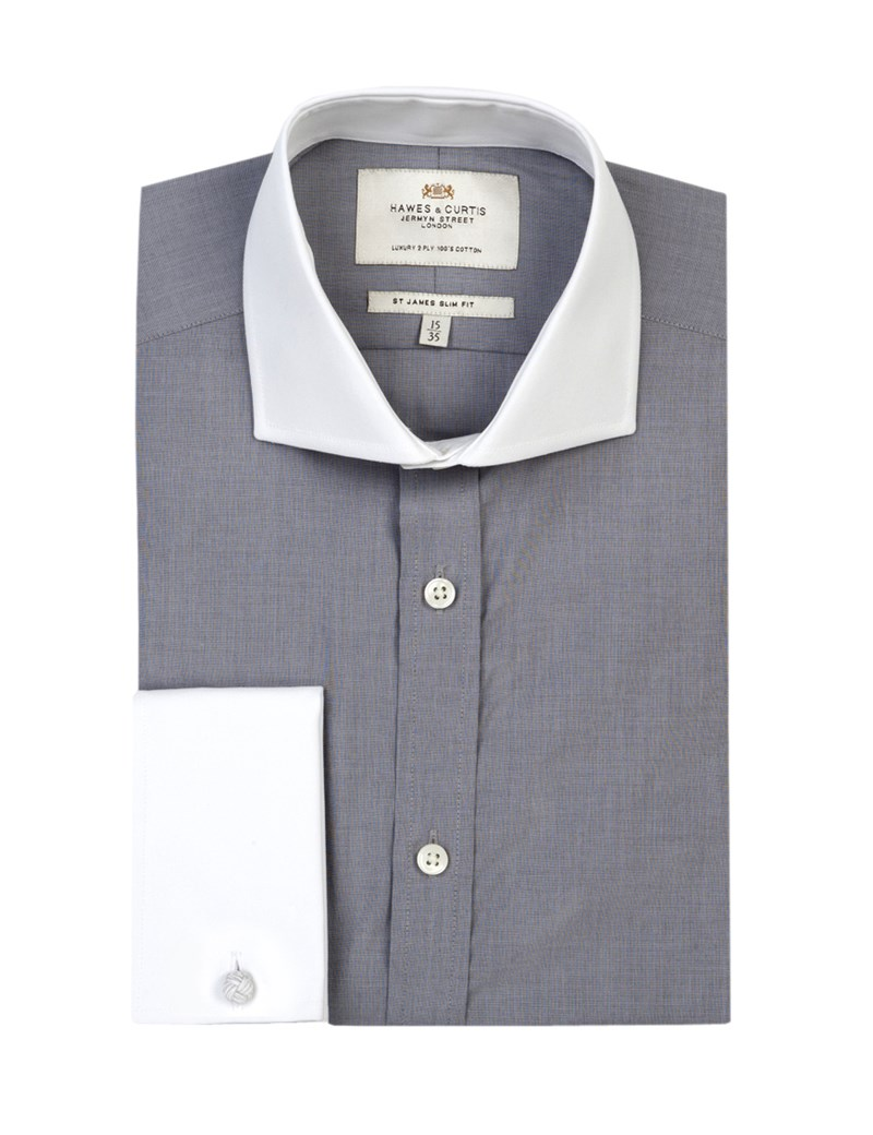 Men's Plain Grey End on End Slim Fit Shirt With Contrast Collar&Cuff - Cutaway Collar