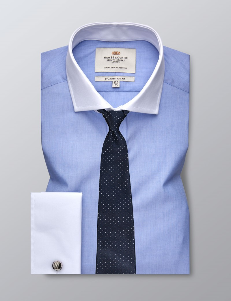 Men's Business Blue End On End Slim Fit Shirt - Double Cuff - Windsor Collar - Easy Iron