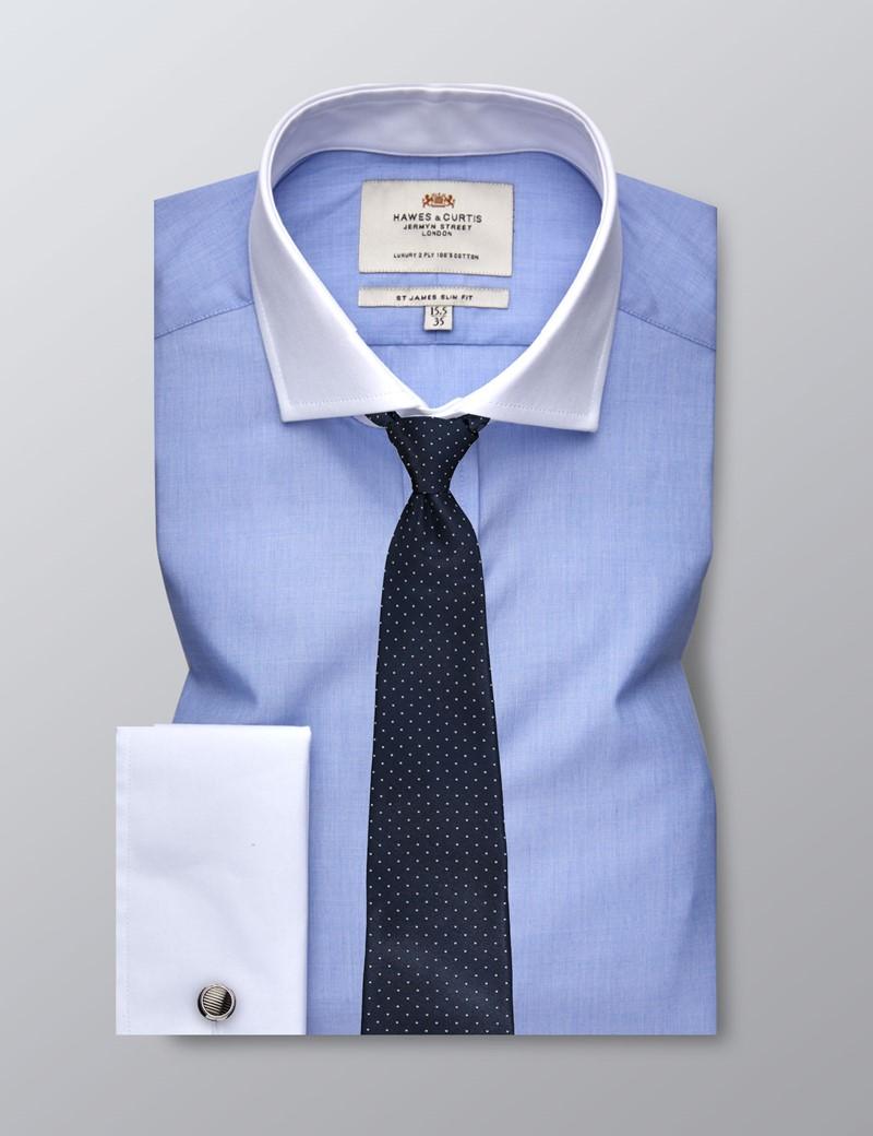 Businesshemd - Slim Fit - Manschetten - Blau End-on-End