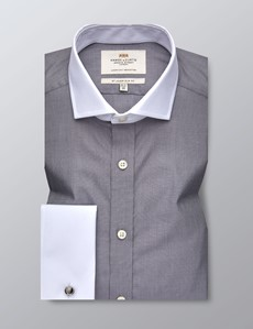 Men's Dress Grey End On End Slim Fit Shirt - French Cuff - Windsor Collar - Easy Iron