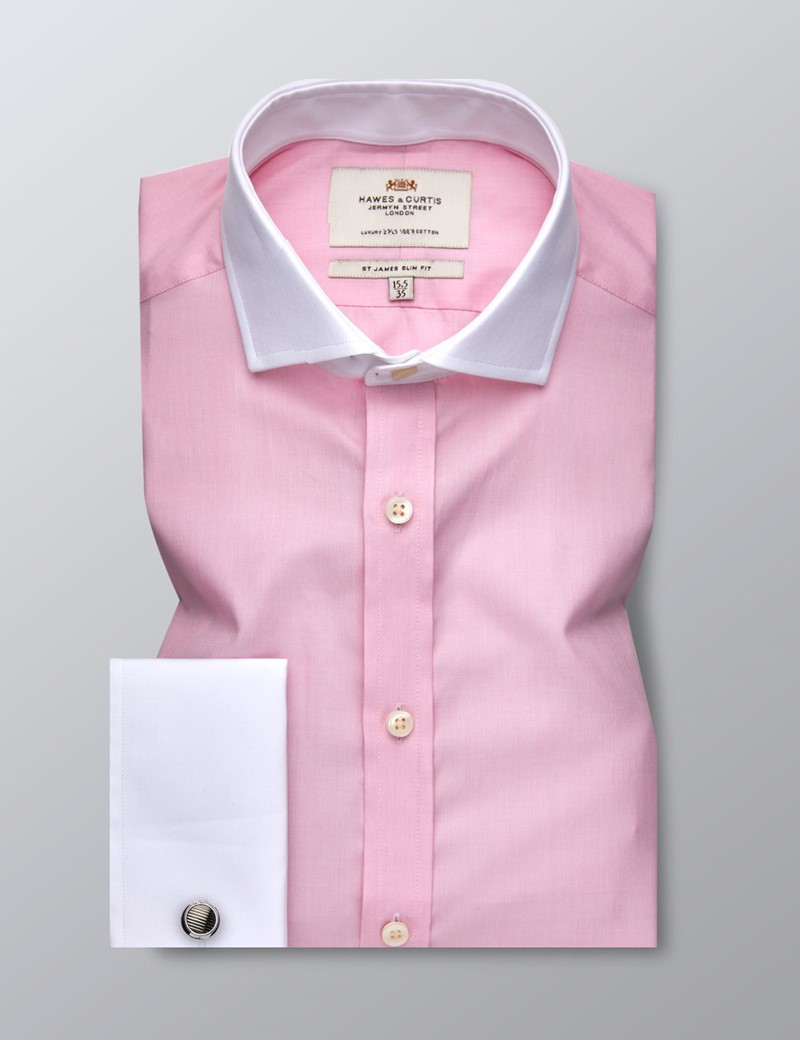 Men's Business Pink End On End Slim Fit Shirt - Double Cuff - Windsor Collar - Easy Iron